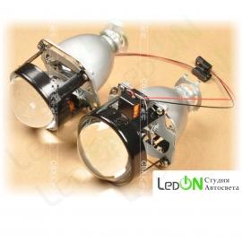 """Комплект би-линз 2.5"""" быстрой установки в гнездо H4/H7 под лампу H1"""